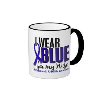 I Wear Blue Wife 10 Rheumatoid Arthritis RA Ringer Coffee Mug