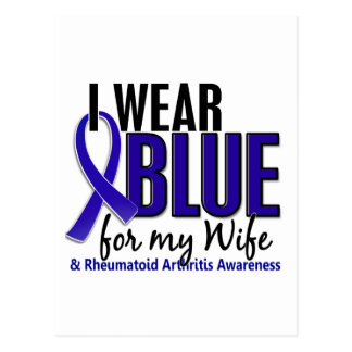 I Wear Blue Wife 10 Rheumatoid Arthritis RA Postcard