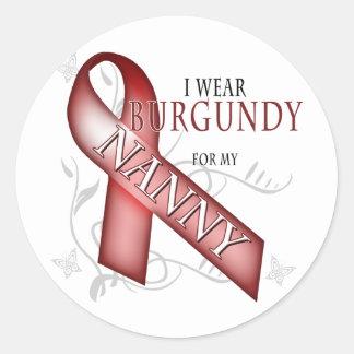 I Wear Burgundy for my Nanny Classic Round Sticker