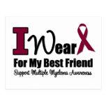 I Wear Burgundy Ribbon For Best Friend Postcard