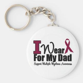 I Wear Burgundy Ribbon For My Dad Basic Round Button Keychain