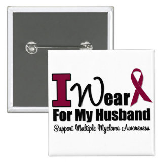 I Wear Burgundy Ribbon For My Husband Buttons