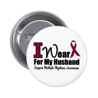 I Wear Burgundy Ribbon For My Husband Pinback Buttons