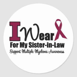 I Wear Burgundy Ribbon For Sister-in-Law Stickers