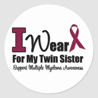 I Wear Burgundy Ribbon For Twin Sister Round Stickers