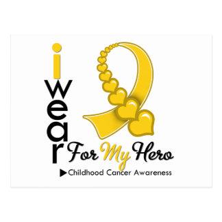 I Wear Childhood Cancer Ribbon For My Hero Postcard
