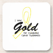 I Wear Gold Childhood Cancer Awareness support Drink Coaster