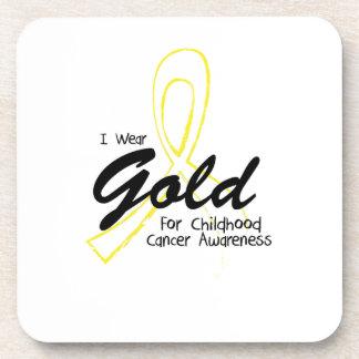 I Wear Gold Childhood Cancer Awareness support Drink Coaster