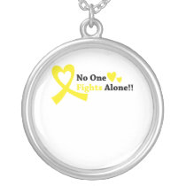 I Wear Gold Childhood Cancer Awareness support Silver Plated Necklace