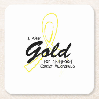 I Wear Gold Childhood Cancer Awareness support Square Paper Coaster