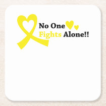 I Wear Gold Childhood Cancer Awareness support Square Paper Coaster
