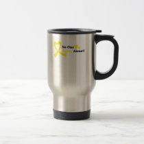 I Wear Gold Childhood Cancer Awareness support Travel Mug