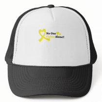 I Wear Gold Childhood Cancer Awareness support Trucker Hat