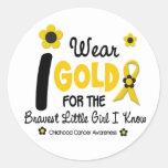 I Wear Gold For Bravest Girl 12 FLOWER VERSION Classic Round Sticker
