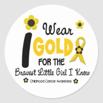 I Wear Gold For Bravest Girl 12 FLOWER VERSION Classic Round Sticker