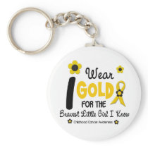 I Wear Gold For Bravest Girl 12 FLOWER VERSION Keychain