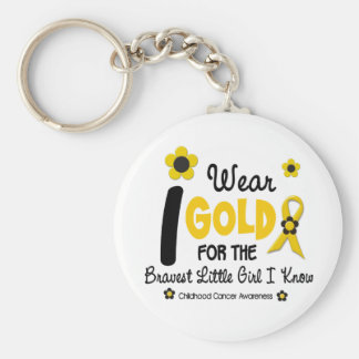 I Wear Gold For Bravest Girl 12 FLOWER VERSION Keychain