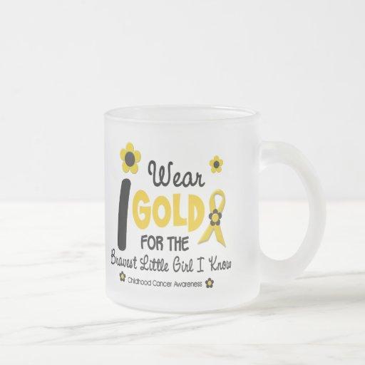 I Wear Gold For Bravest Girl 12 FLOWER VERSION 10 Oz Frosted Glass Coffee Mug