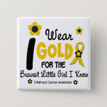 I Wear Gold For Bravest Girl 12 FLOWER VERSION Pinback Button