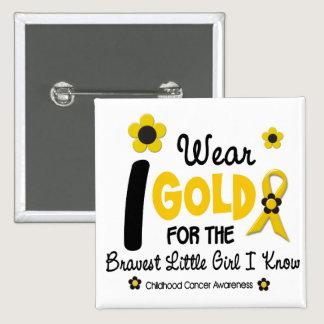 I Wear Gold For Bravest Girl 12 FLOWER VERSION Pinback Button