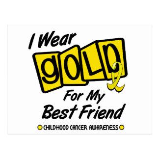 I Wear Gold For My BEST FRIEND 8 Postcard
