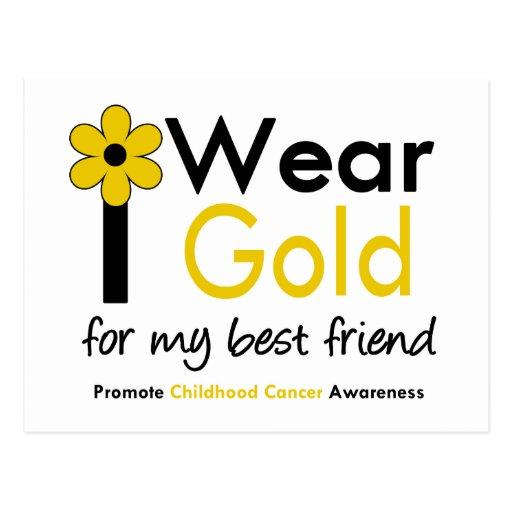 I Wear Gold For My Best Friend (Flower) Postcard