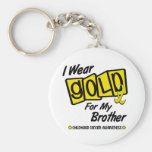 I Wear Gold For My BROTHER 8 Basic Round Button Keychain