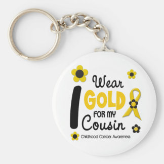 I Wear Gold For My Cousin 12 FLOWER VERSION Keychain
