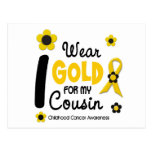 I Wear Gold For My Cousin 12 FLOWER VERSION Postcards