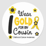 I Wear Gold For My Cousin 12 FLOWER VERSION Round Stickers