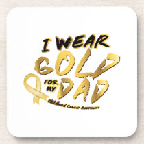I Wear Gold For My Dad Childhood Cancer Awareness Beverage Coaster