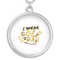 I Wear Gold For My Dad Childhood Cancer Awareness Silver Plated Necklace