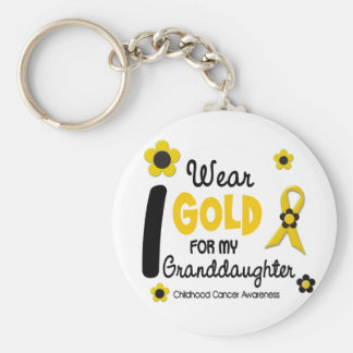 I Wear Gold For My Granddaughter 12 FLOWER VERSION Basic Round Button Keychain