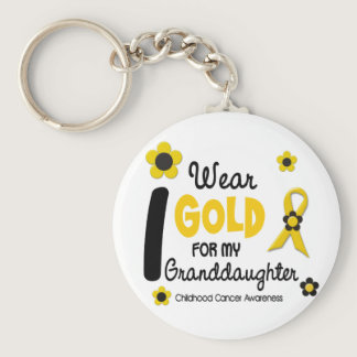 I Wear Gold For My Granddaughter 12 FLOWER VERSION Keychain