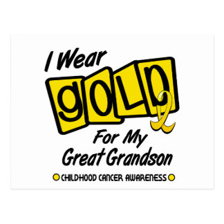 I Wear Gold For My GREAT GRANDSON 8 Postcard