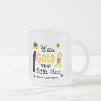 I Wear Gold For My Little Hero 12 FLOWER VERSION 10 Oz Frosted Glass Coffee Mug