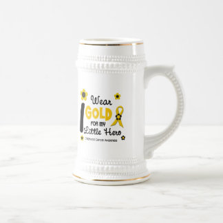 I Wear Gold For My Little Hero 12 FLOWER VERSION 18 Oz Beer Stein