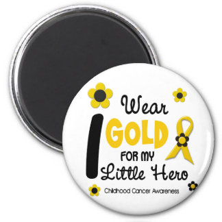I Wear Gold For My Little Hero 12 FLOWER VERSION 2 Inch Round Magnet