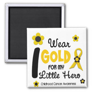 I Wear Gold For My Little Hero 12 FLOWER VERSION 2 Inch Square Magnet