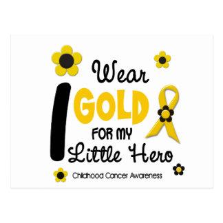 I Wear Gold For My Little Hero 12 FLOWER VERSION Postcard