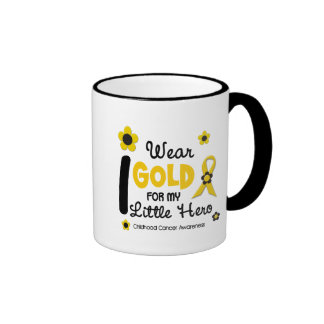 I Wear Gold For My Little Hero 12 FLOWER VERSION Ringer Coffee Mug