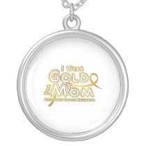 I Wear Gold For My Mom Childhood Cancer Awareness Silver Plated Necklace