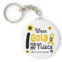 I Wear Gold For My Niece 12 FLOWER VERSION Keychain