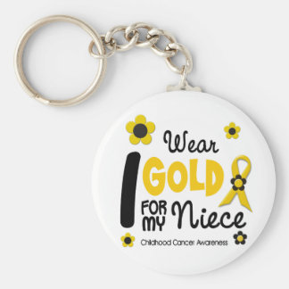 I Wear Gold For My Niece 12 FLOWER VERSION Key Chains