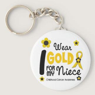 I Wear Gold For My Niece 12 FLOWER VERSION Keychain