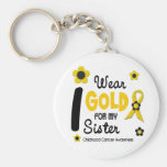 I Wear Gold For My Sister 12 FLOWER VERSION Basic Round Button Keychain