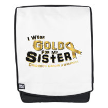 I Wear Gold For My Sister Childhood Cancer Backpack