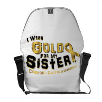 I Wear Gold For My Sister Childhood Cancer Courier Bag