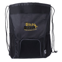 I Wear Gold For My Sister Childhood Cancer Drawstring Backpack