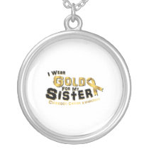 I Wear Gold For My Sister Childhood Cancer Silver Plated Necklace